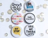"1"" Road Trip button flair set of 6. Flat backed and flatter profile for Pocket pages / Scrapbooking."