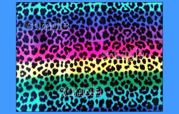Rainbow cheetah animal print edible cake topper sugar for Animal print edible cake decoration