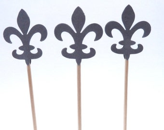 24 Fleur De Lis Grey Toothpick Cupcake Toppers, Food Picks, Theme Party Picks
