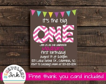 First Birthday Invitation - Printable 1st Birthday Party Invite - First Birthday Girl - First Birthday Party