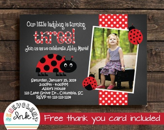 Ladybug Invitation - Printable Ladybug Birthday Party Invite - Girl Birthday Invitations - Chalkboard Invitation - FREE Thank You Card