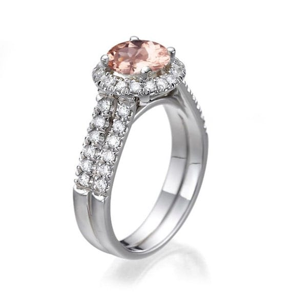 morganite ring 14k white gold engagement ring shank
