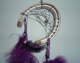 Sale price - Horseshoe dreamcatcher in purple, recycled racing horseshoe