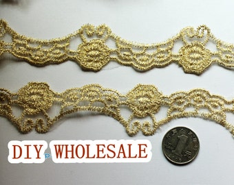 Gold Lace Trim, Vintage Lace Fabric Trim, Embroidery Lace Trim Gold Mesh Lace 5 yards