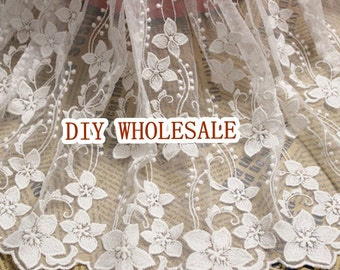 1 yard lace fabric in white, French embroidery lace fabric, bridal fabric lace, floral lace fabric,hard mesh lace trim