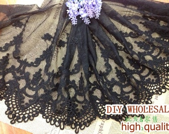 Black Lace Fabric Trim - Embroidered Mesh Lace Floral Scallop Lace Fabric TRIM 30cm Wide