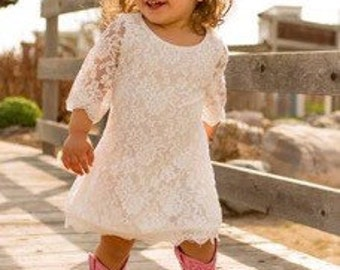 Pink lace little girls spring