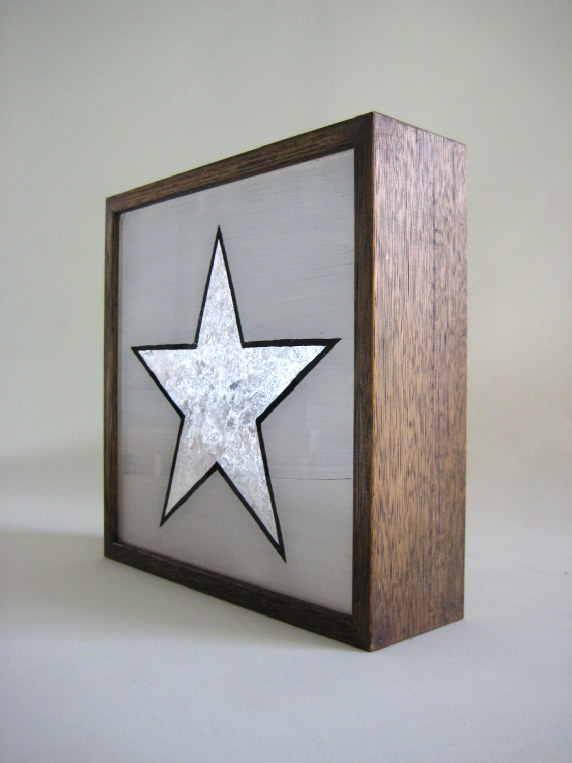 silver leaf star vintage wooden lightbox hand painted sign /
