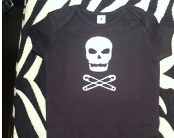 Punk Skull and crossed safety pins black baby one piece newborn infant baby boy bodysuit  snapsuit you choose size!