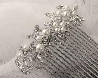 Pearl & Crystal Bridal Hair comb,Bridal Accessories, Vintage Wedding Hair Comb, Bridal Hair piece MIF