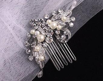 Crystal Bridal Hair Comb, Wedding Hair Accessories,Crystal & Pearl Hair Comb, Bridal Hair Clip ROSE P