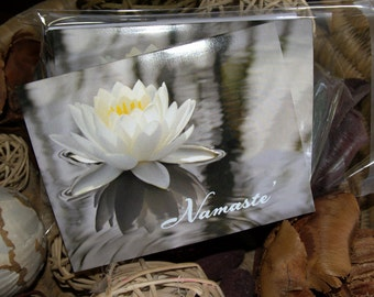 Beautiful Waterlily resting on the water Namaste', note cards.  a nice greeting for a friend, family member, anyone. Photography, note card.