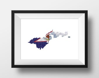 American Samoa - Ink Roller Style Print