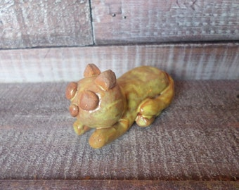 Vintage Clay Cat Figurine