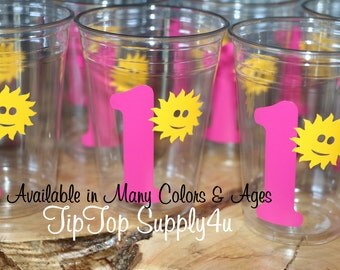 24 You are my Sunshine & Age 10 oz. 12 oz. or 16 oz. clear party cups. Kids party, Birthday, girl birthday, picnic, girl party B-152 C-214