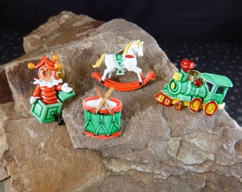 Christmas Toys Scatter Pins Signed JJ Train Drum Rocking Horse Pop Up Jester Painted Metal Lapel Style Vintage Pins