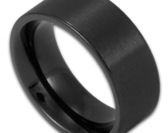 8MM Wide Matte Black Stainless Steel Ring Men's Pipe Cut Wedding Band Custom Engraved Gothic Promise Ring