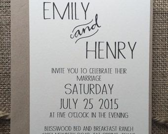 Rustic Modern Wedding Invitation, Elegant & Simple