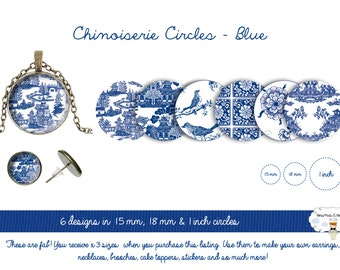 Digital circles - Chinoiserie pattern - collage sheet - 1 inch circle - bottle cap images - circles patterns - DIY pendants - 15mm - 18mm