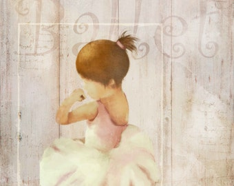 little ballerina, girls art, art for little girls, dance art, ballet art print