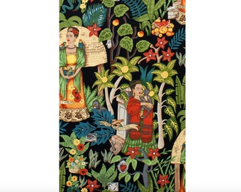 Upholstery Weight Heavy Oxford Frida's Garden 100% Cotton Fabric, Black background by Alexander Henry