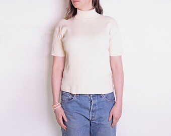 90's cream white mock neck blouse, beige off white short sleeve knitted top, preppy, minimalist, ecru blouse