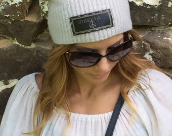 Women's and Teen's Cashmere Beanie Hat wirh Genuine Leather Imagine Patch