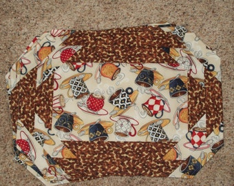 Quilted placemats made from beautiful coffee-themed fabrics