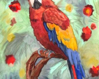 "This is a print of my original painting titled ""Scarlet Macaw"". Available in 5 x 7, 8 x 10, 11 x 14, wrapped canvas and note cards"