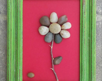 "Pebble Art, Rock Art, Pebble Art Flower, Rock Art Flower, friend gift, Mother's Day, 6.5x8.5 ""open"" frame (FREE SHIPPING)"
