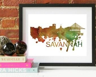 Savannah Art, Savannah Skyline, Savannah map, Savannah skyline, Savannah map print