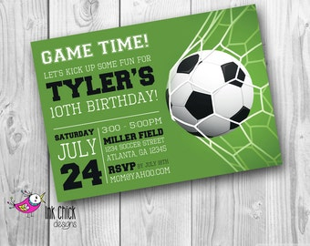 Soccer Birthday Invitation, Sports Invitation, Football Party, Printable, Digital File