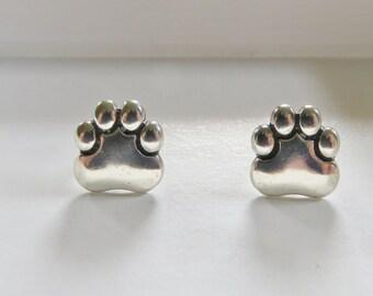 Vintage .925 Sterling Silver Paw Print Pierced Earrings