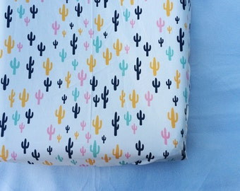 Cream cactus changing pad cover