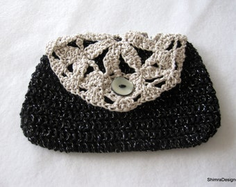 Black Crochet Cosmetic / Makeup Bag with Cream Flower Motif and Vintage Button