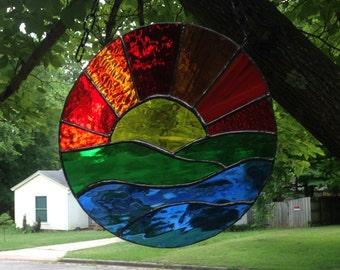 "Sunset Stained Glass Window Panel Suncatcher 9"" Round"