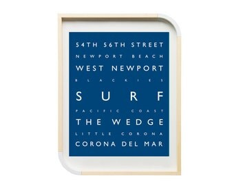 Newport Beach CA - Surf - Personalized Prints - Southern California, Beach Decor, Typography, Surf Room, Beach, Coastal, Orange County Print