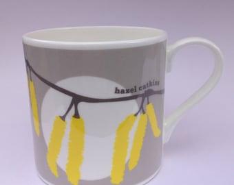 Hazel Catkins | Cornwall Hedgerow | Fine Bone China Mug by Alison Bick