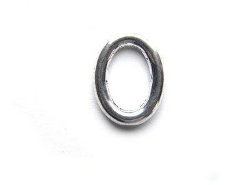 10 Silver Chunky Oval Close Ring Connectors