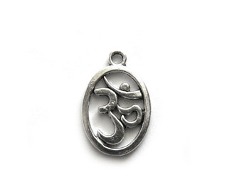 10 Silver Om Charms