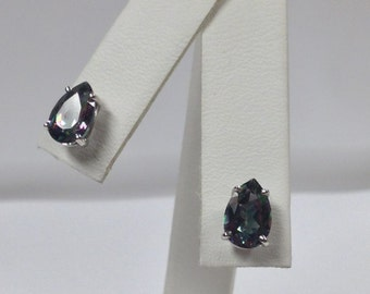 Natural Mystic Topaz Stud Earring Sterling Silver
