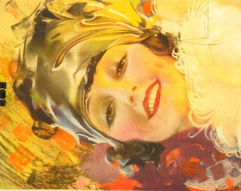 Original Vintage Rolf Armstrong A Smile You Can't Resist Calendar Print
