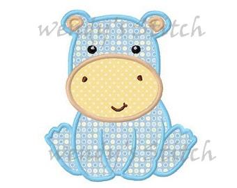 baby hippo applique machine embroidery design digital pattern