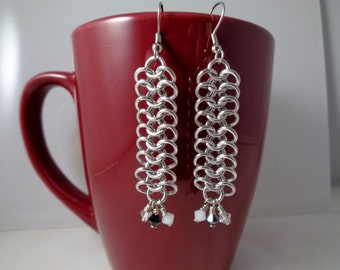 Black, White & Crystal Swarovski Crystal Chainmail Earrings, European 4-in-1 Chain Mail Earrings, Chain Maille European 4 in 1 Earrings