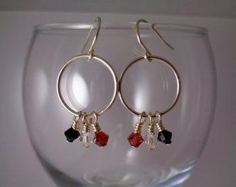 Black, White & Crystal Hoop Earrings, Swarovski Crystal Earrings, Silver Hoop Earrings