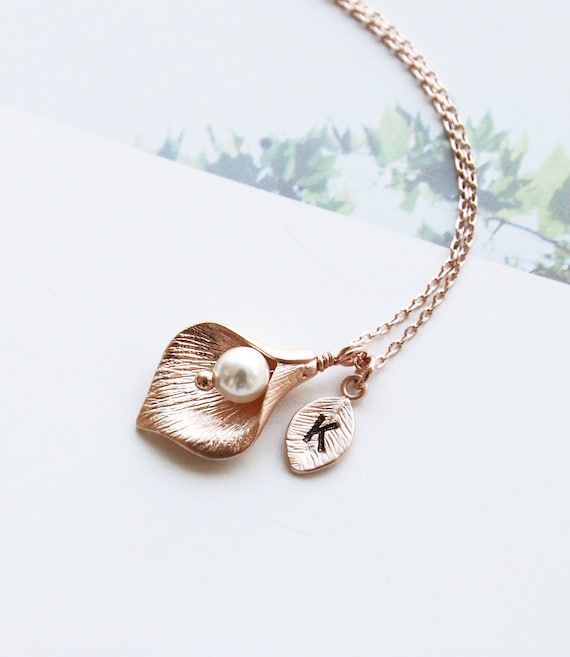 Rose gold calla lily necklace initial necklace swarovski pearl