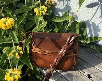 CLASSIC 70's Braided Strap LEATHER PURSE
