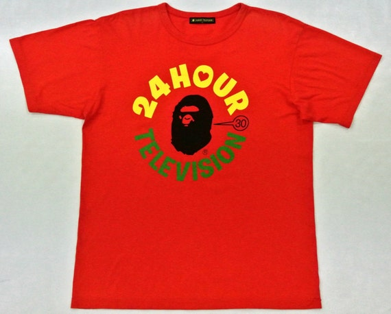 24 Hour Television A Bathing Ape Orange T Shirt Size L Xl