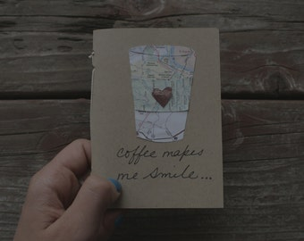 Coffee makes me Smile Mini Notebook. Hand sewn. Blank pages.