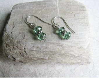 Minimalist Earrings in Soft Green with Tiny Crystal Rondelle (#248)